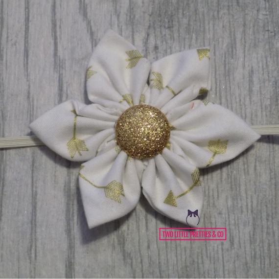 Large white, gold arrow Fabric Flower Headband   glitter   Baby Girl   hand sewn
