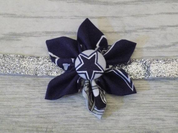 Large Football Team fabric flower headband   Baby girl   hand sewn