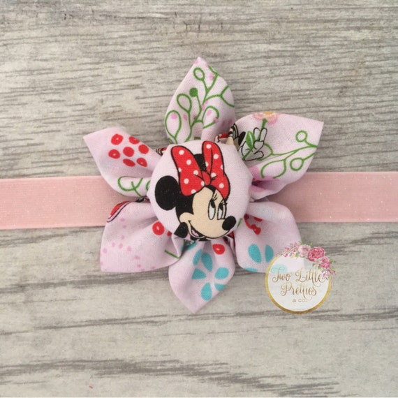 Large Minnie Mouse fabric flower headband | baby girl | hand sewn