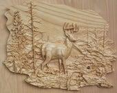 Deer Wood Carving, Deer W...