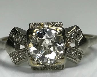 Vintage Diamond Engagement Ring. 14K White Gold Art Deco Setting. 1+ TCW. Unique Engagement Ring. April Birthstone. 10 Year. Appraised.