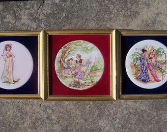 3 Genuine Staffordshire Ceramics Hand-Made in England Picture Tiles – Fragonade, Oriental & Pinky
