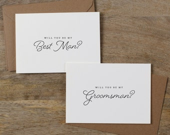 6 x Will You Be My Best Man, Will You be My Groomsman, Best Man Card, Groomsman Card, Wedding Party, Will You Be My Cards, Usher Card, K1