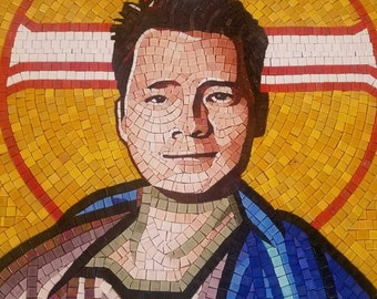 Custom hand made mosaic using your photo - turn yourself into a roman emperor using glass mosaic
