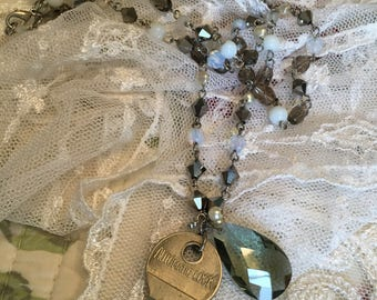 Repurposed Beaded Necklace with Vintage Key