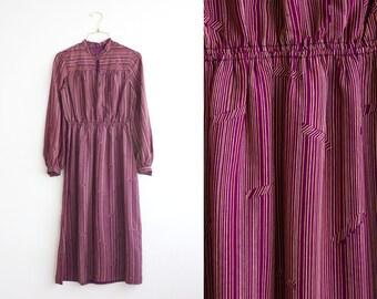 Burgundy Dress, Long Sleeve Vintage Dress, Maroon Striped Midi Dress Size Medium