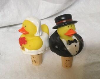 Bride and Groom rubber duckie Wine bottle corks, wine cork, corks, wine gift, wine bottle gift, bride and groom, wedding, anniversary