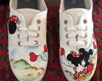 Hand painted Mickey and Minnie shoes