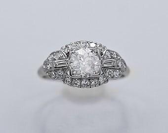 Platinum Art Deco Antique Engagement Ring .70ct. Diamond - J36366