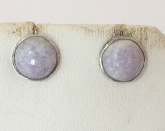 Lavender Charoite Round Post Earrings 925 Sterling Silver gw16-223