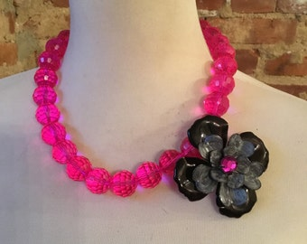 Fuchsia Pink Czech Glass Statement Necklace with Vintage Flower Brooch