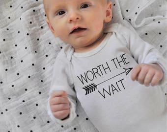 Worth the Wait Onesie, baby girl onesie, baby boy onesie, baby onesie, onsie,  baby shower gift, printed baby onesie, printed baby shir
