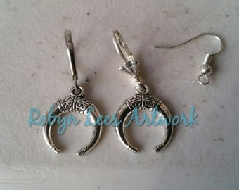 Silver Double Horns Crescent Moon Earrings on Silver Hooks, Leverbacks or Scalloped Leverbacks