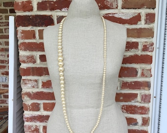 Vintage Champagne Long Faux Pearls/Opera length/gift