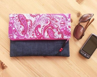 Vintage Fabric Fold Over Clutch, paisley clutch, pink clutch, handmade clutch, bridesmaid gift