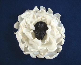 Black Skull in Ivory Blossom Fascinator/ Hat Pin