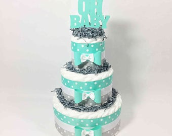 Oh Baby Diaper Cake Centerpiece for Your Boy, Girl, or Gender Neutral Baby Shower, Baby Shower Centerpiece, Aqua and Gray Diaper Cake