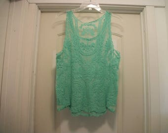 Vintage 80s 90s Romantic MINT GREEN LACEY Sleeveless Tank Blouse, Semi Sheer, Sm to Med