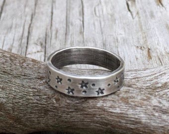 Silver Star Ring, Sterling Silver Ring, Celestial Ring, Wide Band Ring, Boho Ring, Star Jewelry, Silver Ring, Band Ring, Minimalist Ring