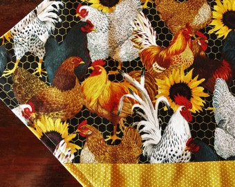 """Roosters Placemats, Handmade Roosters and Sunflowers Table Topper, 20"""" Cotton Candle Mat, Rooster Gift, Rooster Decor, Centerpiece Mat"""