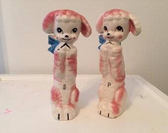 Vintage Pink Poodle Salt and Pepper Tall