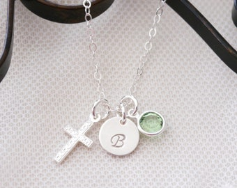 Baptism Gift Girl, Cross Necklace, Personalized Cross Initial Necklace, First Communion Necklace, Sterling Silver Cross Necklace, Custom
