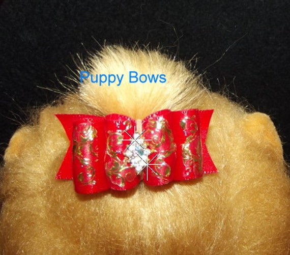 Puppy Bows ~ Brushstrokes Dog show bow  Shih Tzu red/gold painted golden filigree ~USA seller