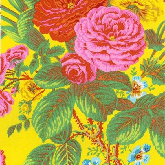 SUMMER BOUQUET YELLOW pwpj086 Philip Jacobs for Kaffe Fassett Collective Sold in 1/2 yd increments