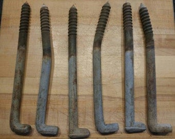 Vintage Set of 6 Telephone Pole Climber Spikes Screws Reclaimed Metal