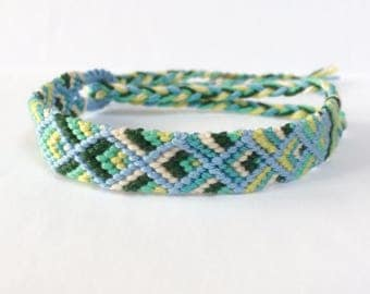 Blue Green Turquoise Wristband Handmade Woven Bracelet Bracelet Hippie Bracelet friendship bracelet craftymotmot wish bracelet macrame