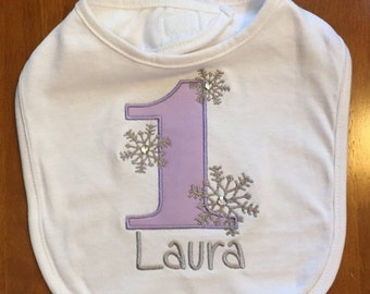 Lavender and Grey Winter Onederland Bib With Name Embroidery