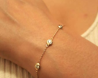 14k Diamond 0.05ct 0.10ct 0.20ct 0.30ct to 1ct. Solitaire Diamond Bracelet  all sizes available Real solitaire diamond Gold diamond bracelet