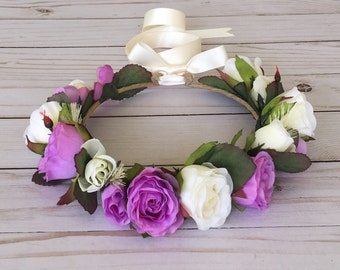 Orchid Ivory Flower Crown, Flower Girl Rose Flower Crown, Orchid Wedding, Maternity Photo, Bridal Shower Flower Crown, Boho Romantic Crown