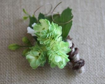 Rustic Green Silk Hops Boutonniere