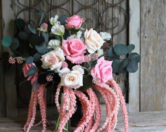 Overflowing Loose Greenery Eucalyptus Roses Amaranthus Boho Silk Wedding Bouquet