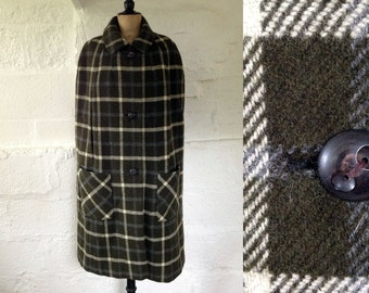 1960s Sage Green 'Gorslan' Scotch Tweed Wool Check Cape / 60s Check Cape / Vintage Wool Cape / SIZE UK 8-10