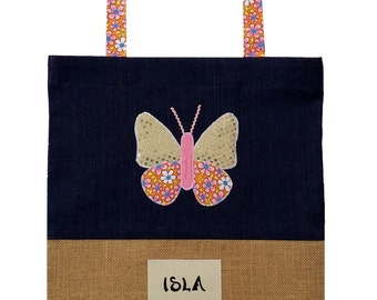 Personalised Kids Library Bag- Butterfly