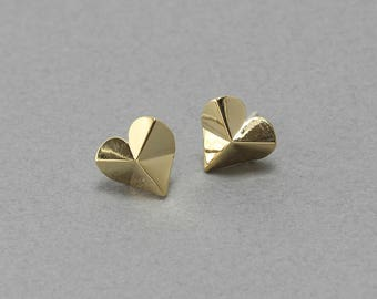 Heart Post Earring . Earring Component . 925 Sterling Silver Post . Polished Gold Plated over Brass / 2 Pcs - FC313-PG