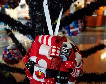 Elmo Ribbon Topiary-style Ornament - Great for the Holidays for your favorite Sesame Street fan!