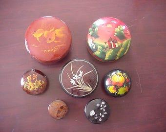7 Vintage Lacquerware Bowls with Lids
