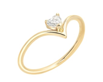 Heart Shaped Diamond Ring, Diamond V Ring, 14kt Solid Yellow Gold Chevron Ring, Diamond Engagement Ring, Handmade by Gevani