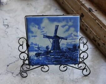 Delft Blue Holland Windmill Tile Vintage Porcelain