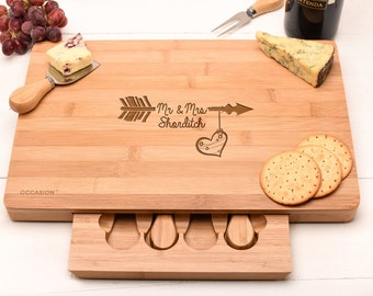 Personalised cheese board set, Wedding gift Gift for couples with names. Valentines gift Anniversary gift. Cheese Kit
