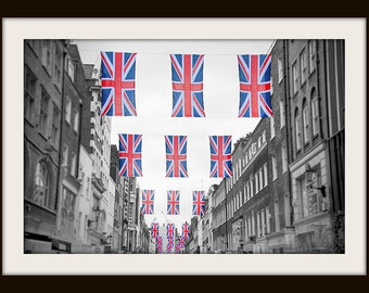 London Print, Union Jack, London Art, Black and White Fine Art Photography, Travel Photography, Union Flag, Red, Blue