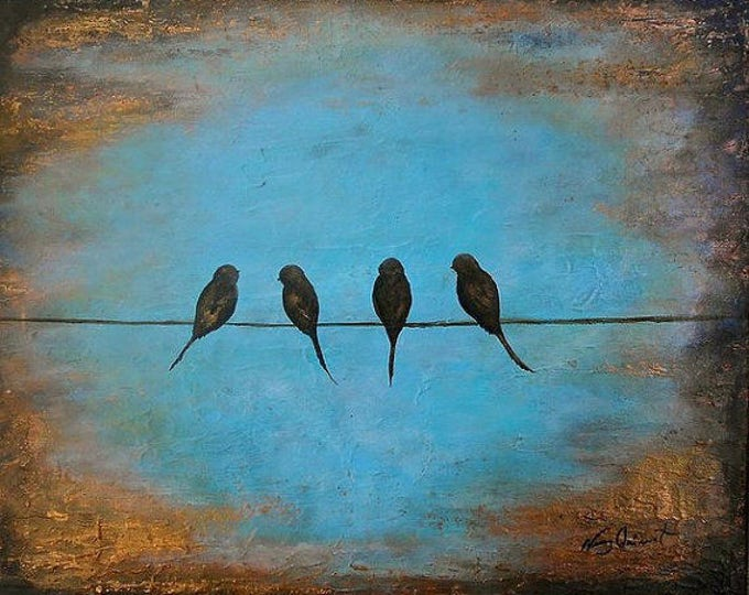 Original birds on a wire painting, rustic modern silhouette bird wall art, Free shipping, abstract textured bird painting by Nancy Quiaoit.