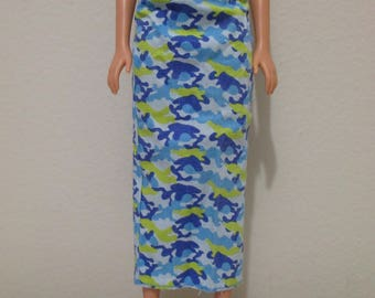 Barbie Doll Clothing camouflage blue and green long skirt cotton excellent condition