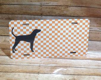 Car Tag, Bird Dog Tag, Checkered Tag, Orange and White, Custom Car Tag, Pointer Tag, Monogram Car Tag, Personalized Tag, Vehicle Tag