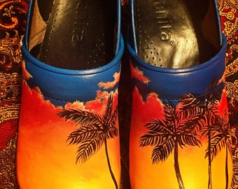 USED Custom painted Hawaiian Sanita Clogs. Designed and personalized just for you!