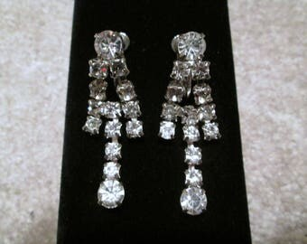 Vintage Rhinestone Dangle Earrings Mid Century Formal Clip And Screw Back Dauplaise Bridal Jewelry