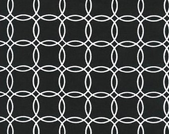 Sale Robert Kaufman, Metro Living 2, Rings in Black, 1 Yard, SRK-15081-2